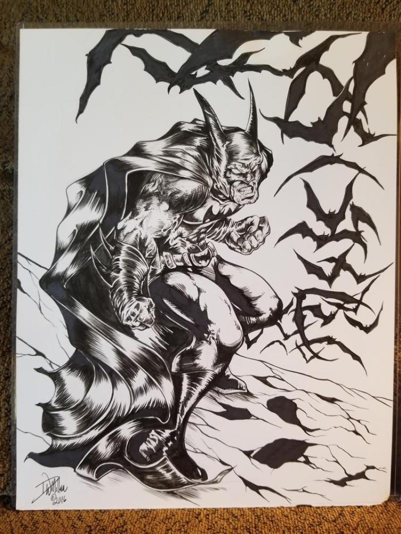 DAVE MILLER original art, Batman is not Happy, Bats, 11x14, David, 2016