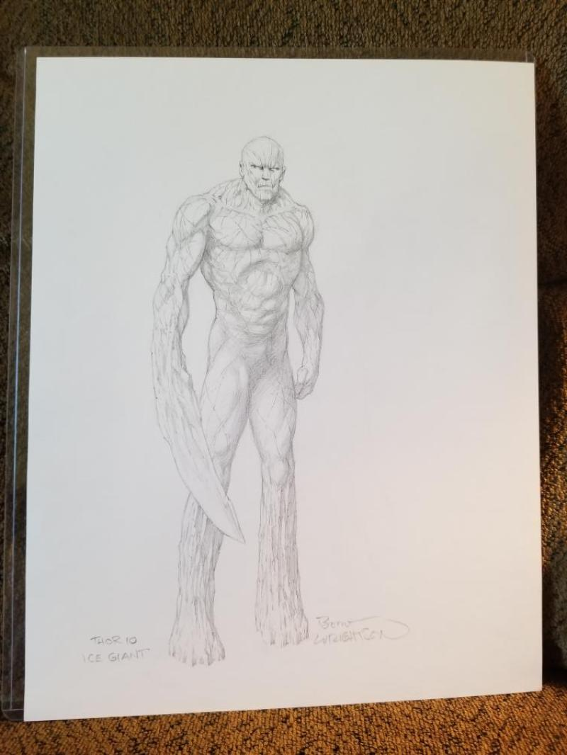 BERNIE WRIGHTSON original art, Ice Giant from THOR concept, Signed,  11x14, Monster