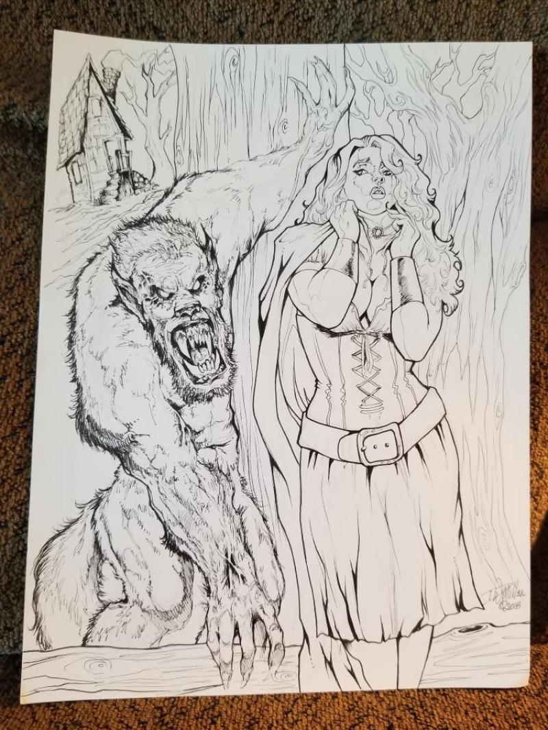 DAVE MILLER original published art,  Red Riding Hood and the Wolf, 9 x 12, 2018