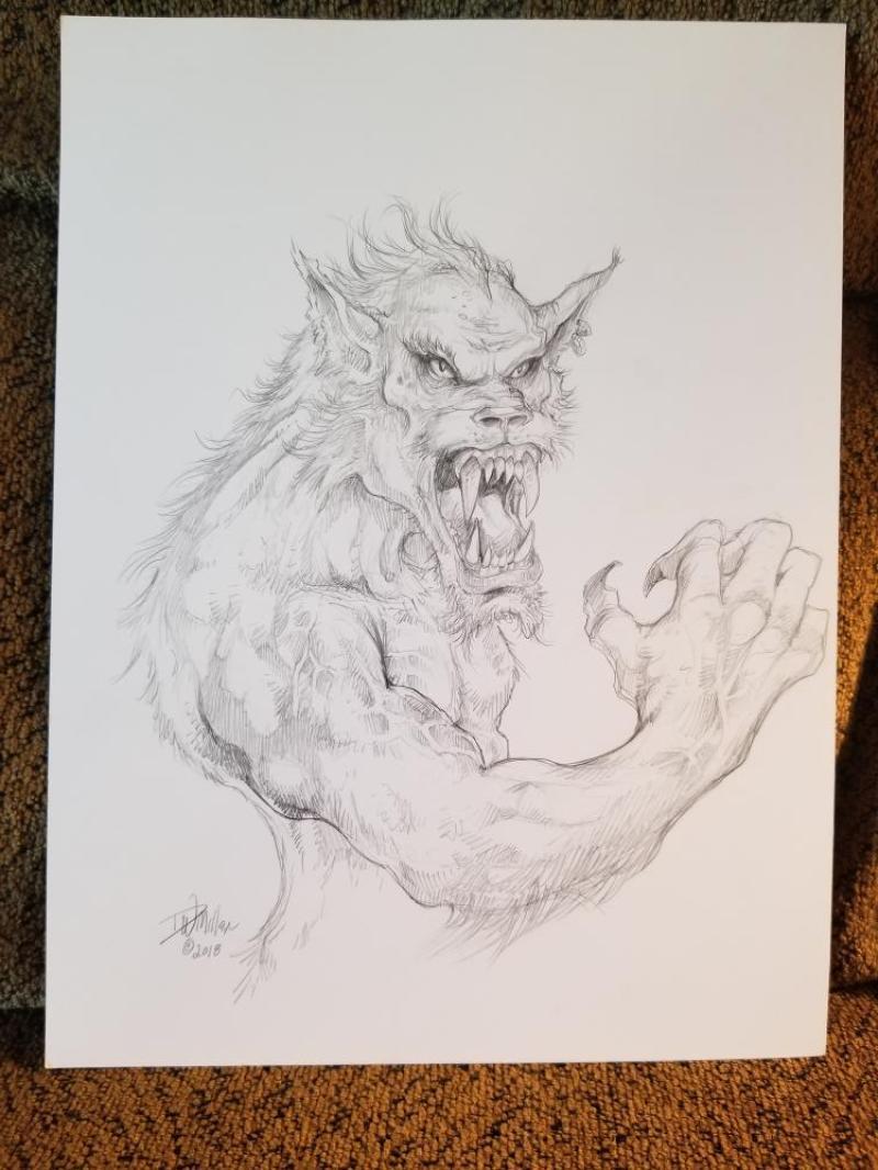 DAVE MILLER original art,  WereWolf, Wolf, Fangs Claws, 9 x 12, 2018,