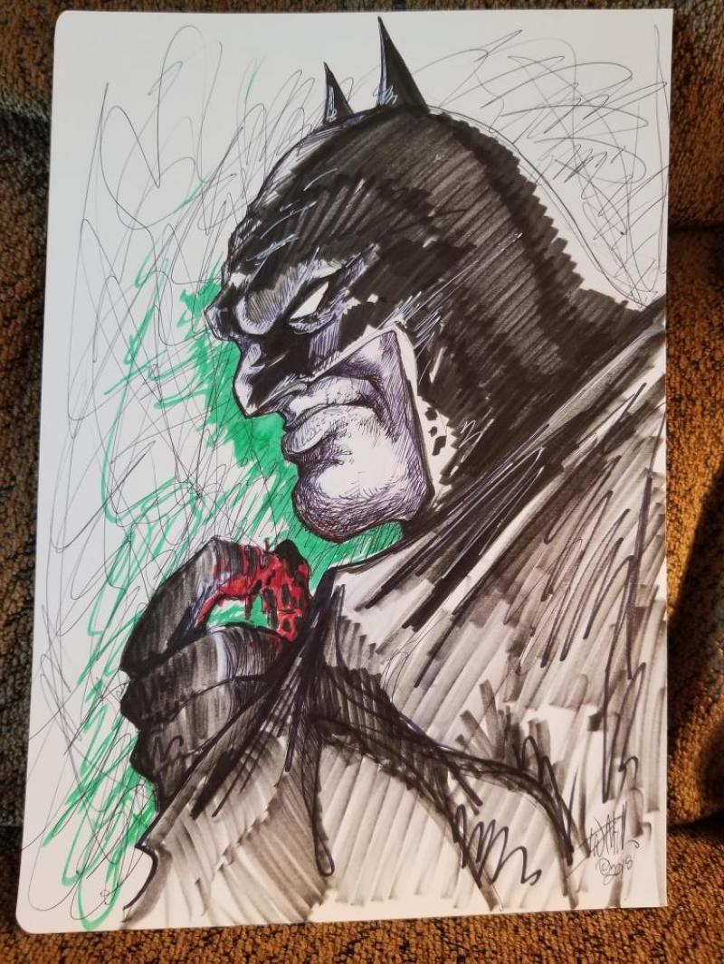 DAVE MILLER original art,  Batman with bloody hand, 8 x 11, 2018