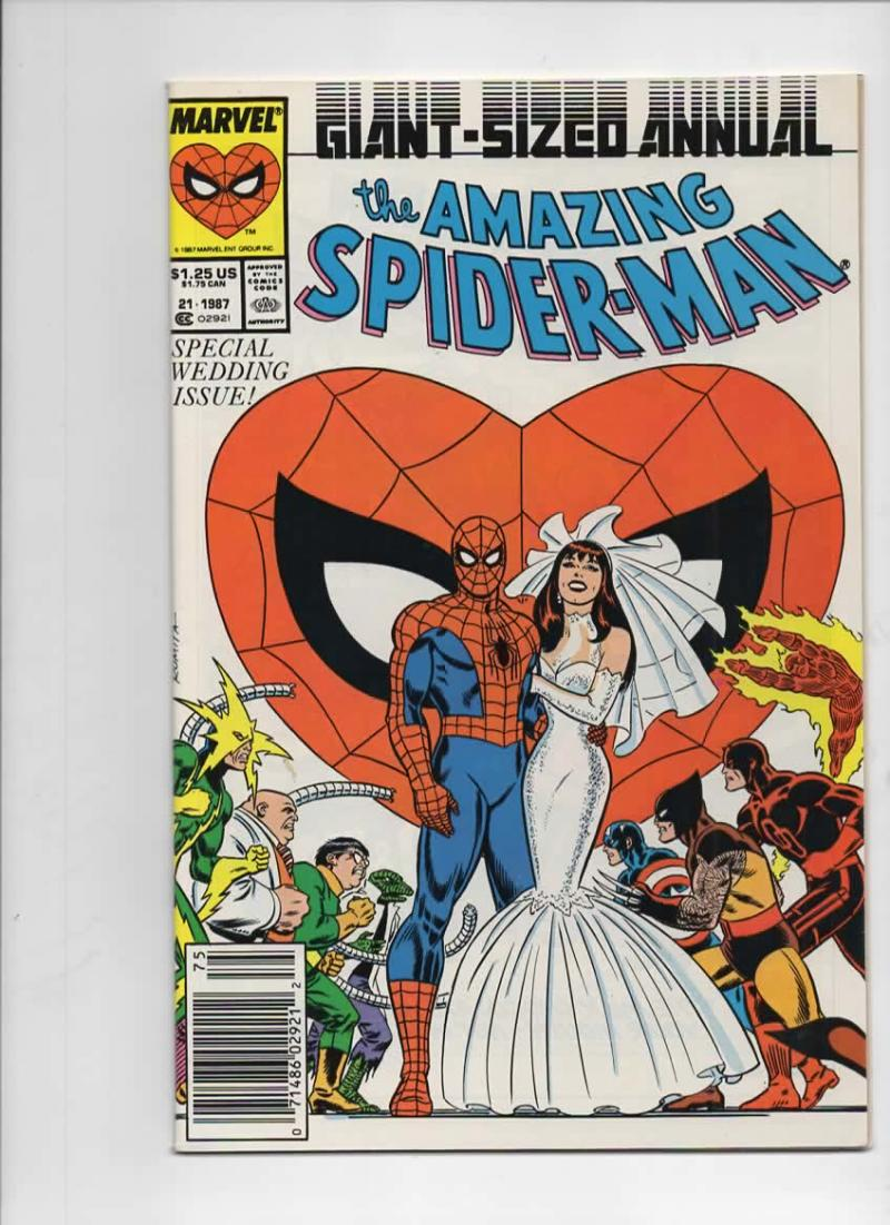 Amazing SPIDER-MAN #21 Annual, VF+, Wedding, Mary Jane, 1963 1987 more in store