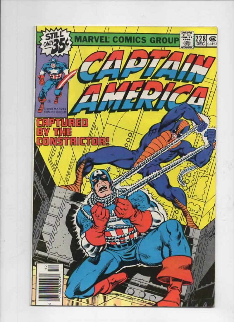 CAPTAIN AMERICA #228, FN+, Constrictor, 1968 1978, more CA in store
