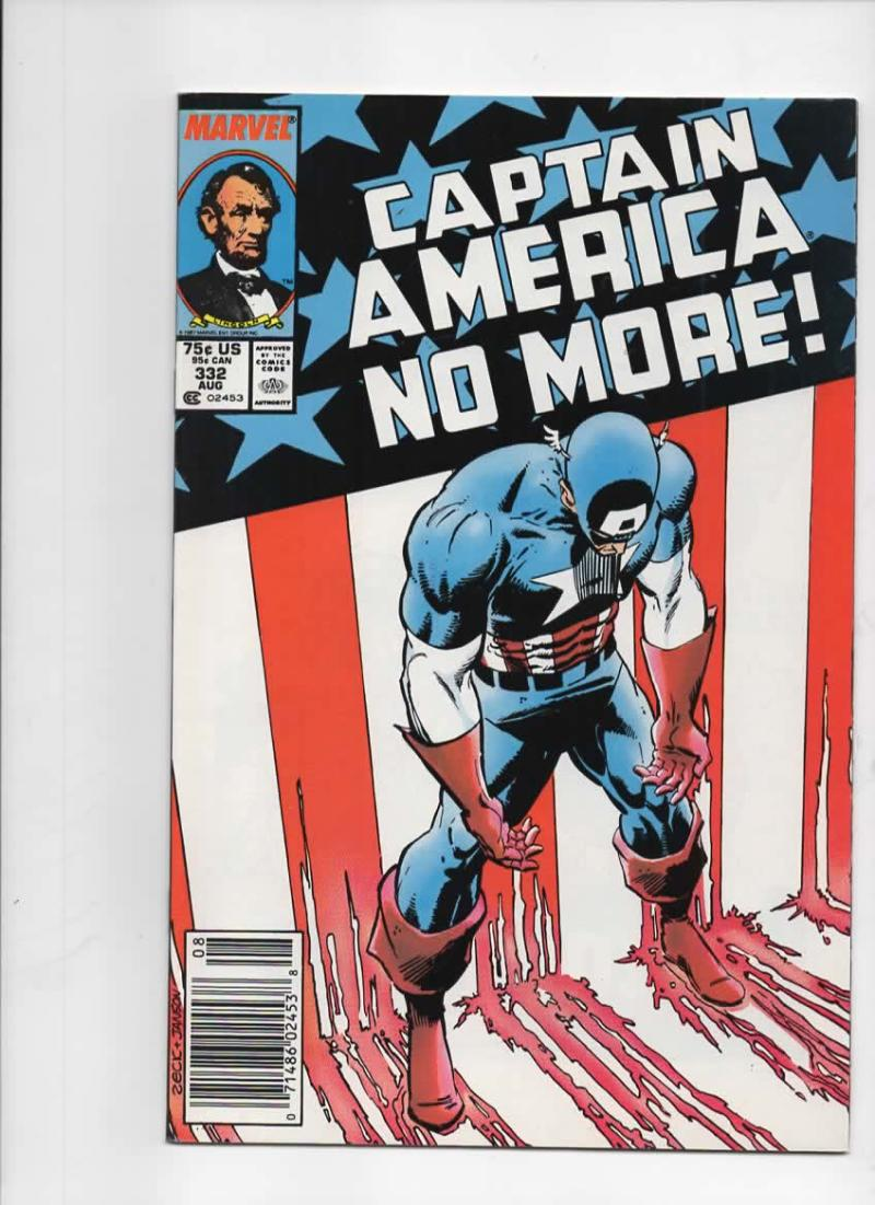 CAPTAIN AMERICA #332, NM-, Cap Quits, No More 1968 1987, more CA in store
