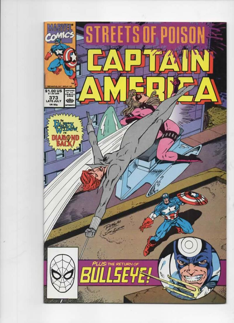 CAPTAIN AMERICA #373, NM-, Black Widow, Bullseye, Marvel 1968 1990, more CA in store