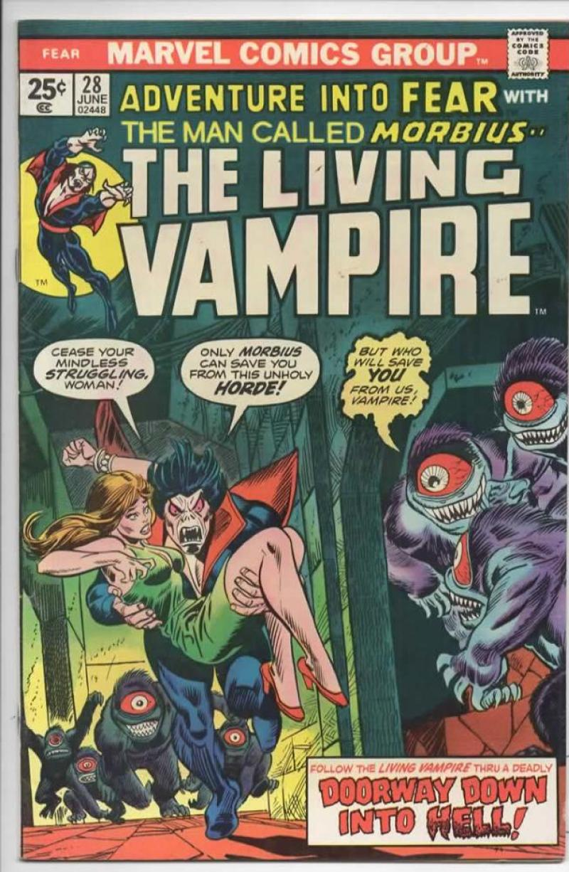 ADVENTURE INTO FEAR #28, VF,  Morbius, Vampire, 1975, Screaming into Hell