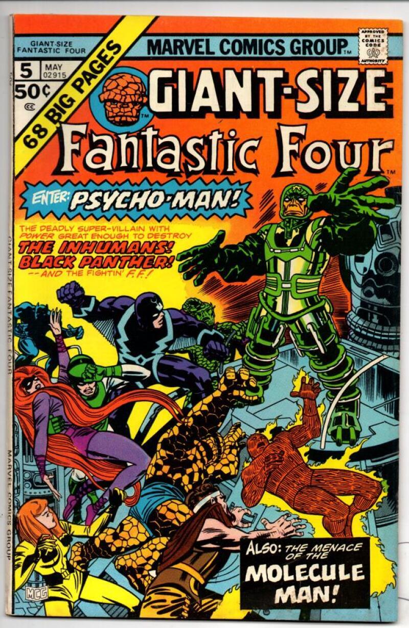 GIANT-SIZE FANTASTIC FOUR #5, VF, InHumans, Psycho-Man, Marvel, 1975