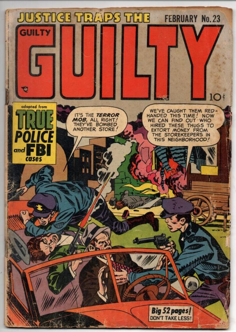 JUSTICE Traps the GUILTY #23, GD/VG, 1951, Golden Age, Pre-code, Terror Mob
