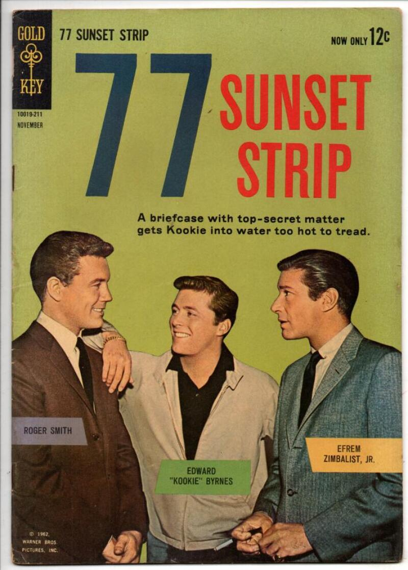77 SUNSET STRIP #1, FN, Gold Key, Kookie, Photo cover, 1962, Roger Smith Zimbalist