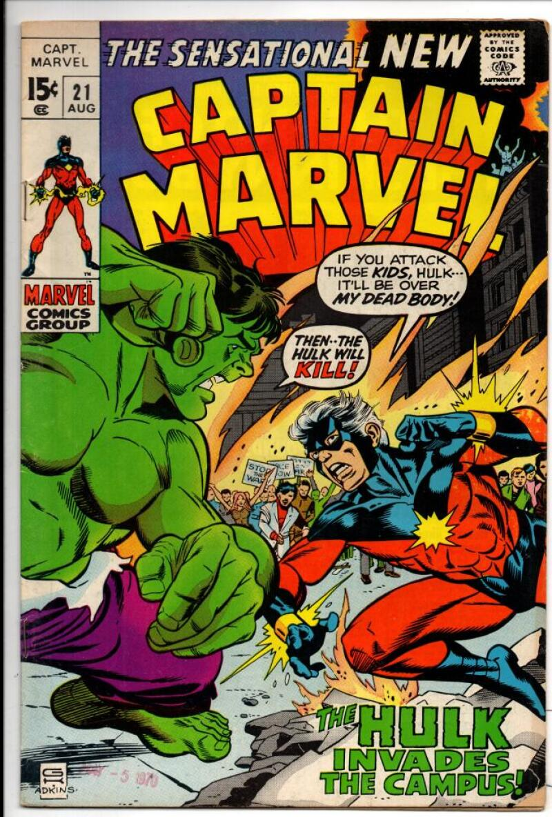 CAPTAIN MARVEL #21, vs Hulk, Gil Kane, 1968, more in store