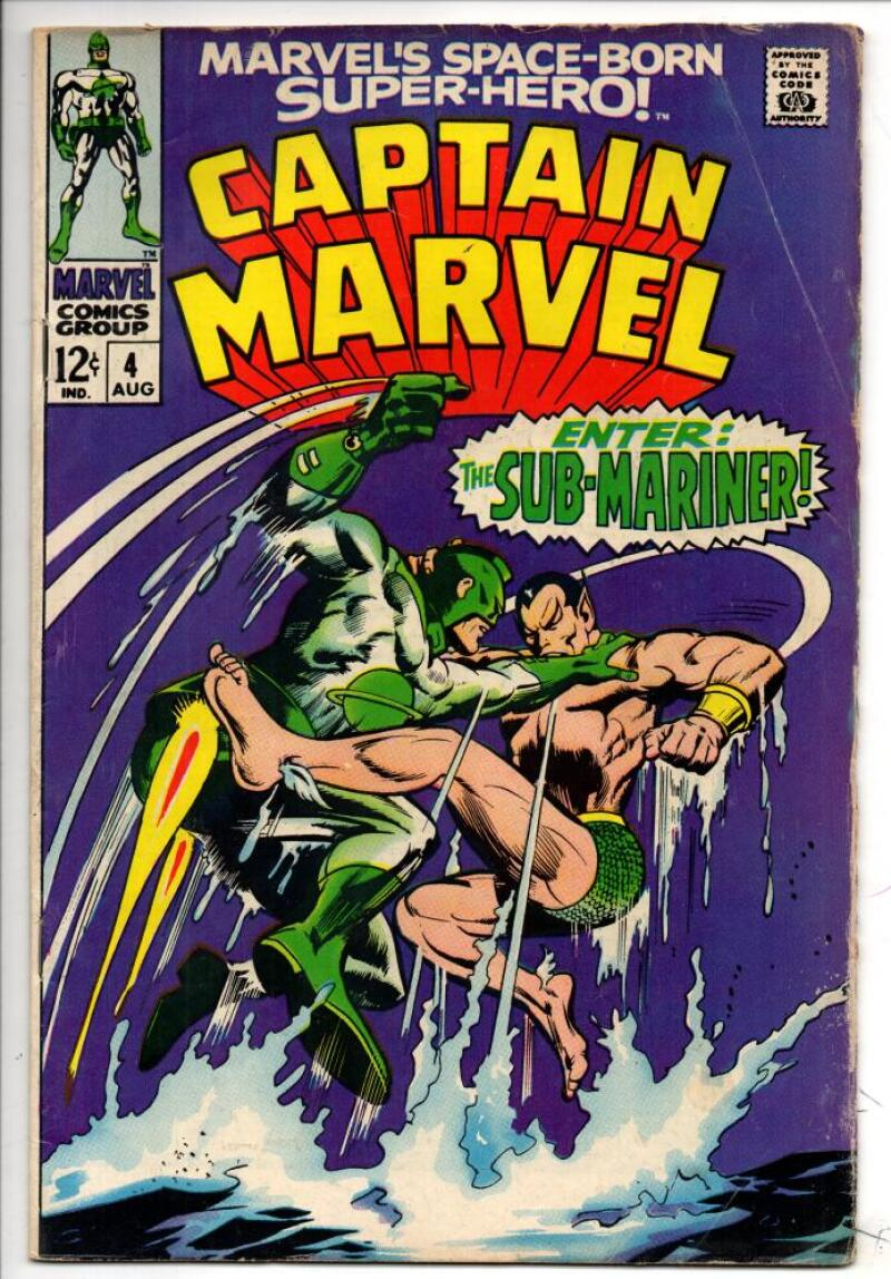 CAPTAIN MARVEL #4, VG/FN, Gene Colan, Sub-Mariner, 1968, more CM in store