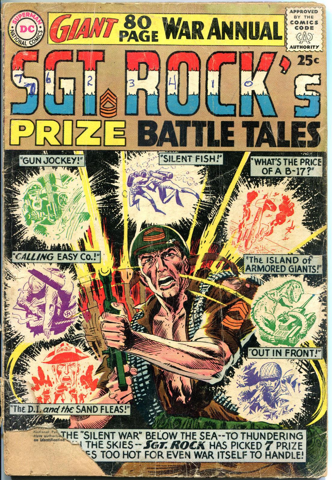 SGT ROCK'S Prize Battle Tales #1, GD-, 1964, Russ Heath,Kubert,more War in store
