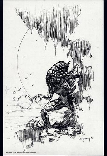 ARTHUR SUYDAM, ALIEN  print, Stalking, Aliens, B&W,  Horror, 11