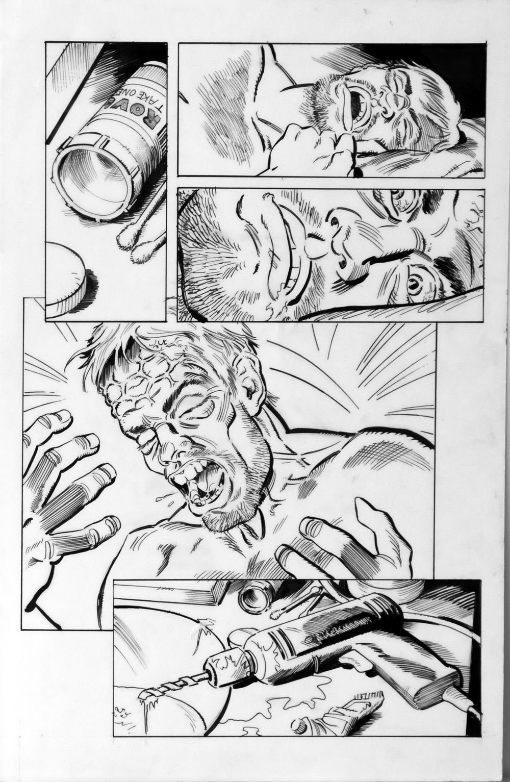 DEAN KOTZ Original Published Art, TRAILER PARK of TERROR #7 page 12, Head Ache