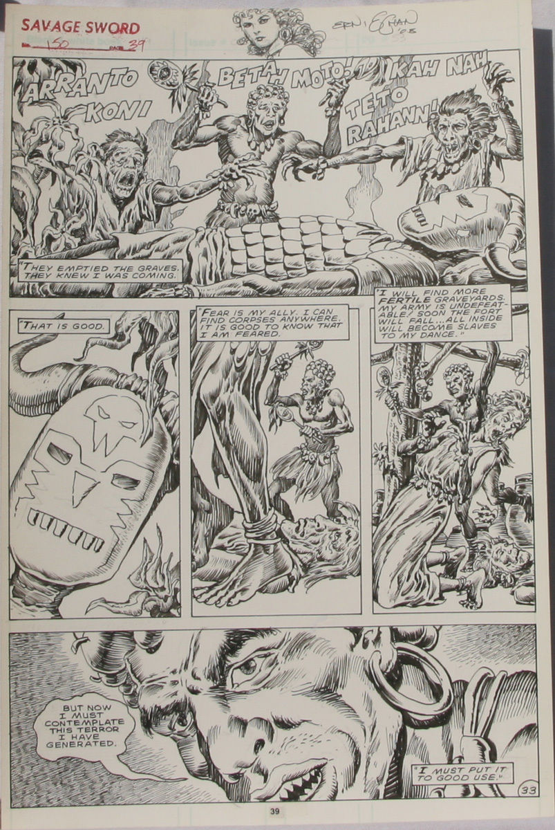 ERNIE CHAN Published Original Art SAVAGE SWORD of CONAN #150,pg 39, Signed w/art