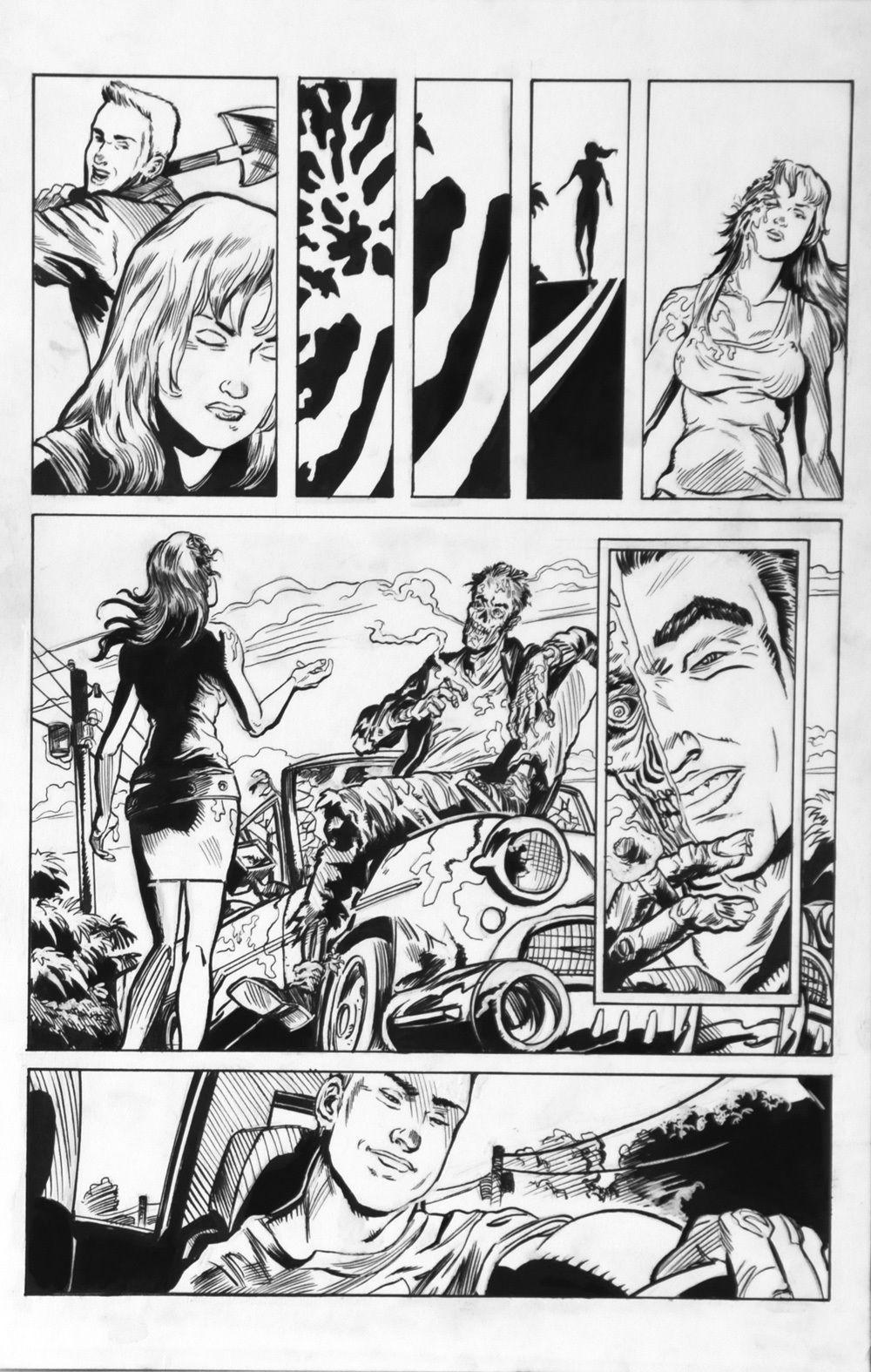 DEAN KOTZ Original Published Art, TRAILER PARK of TERROR #5 page 21, Zombies