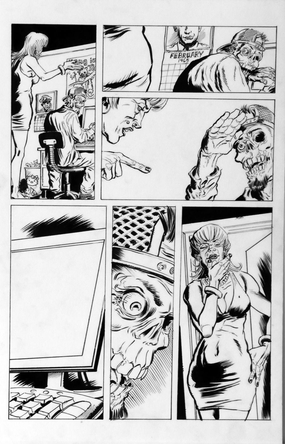 DEAN KOTZ Original Published Art, TRAILER PARK of TERROR #8 page 24, Zombies