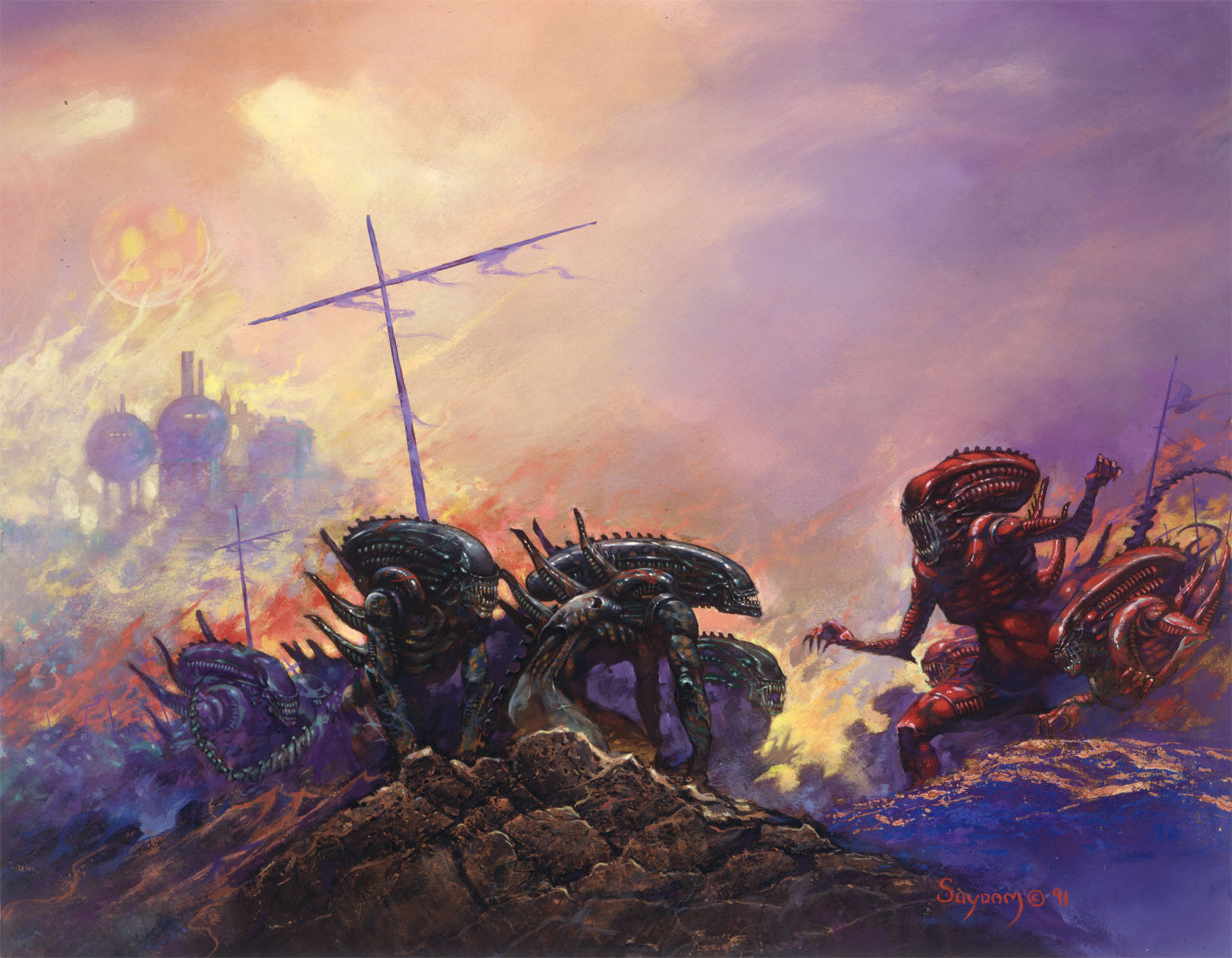 ARTHUR SUYDAM, ALIEN  print, Red vs Black Aliens, Terror, Horror, 11