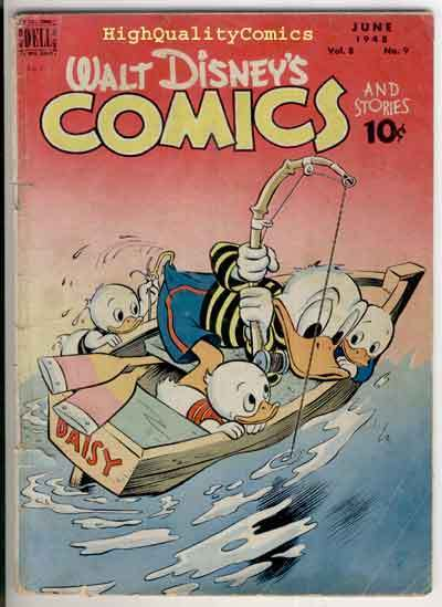 WALT DISNEY COMICS #93, VG-, Carl Barks, Mickey Mouse, 1948, Donald Duck,Fishing