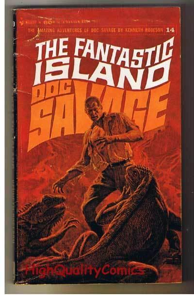 DOC SAVAGE #14  FANTASTIC ISLAND pb, VG, Ken Robeson,1966