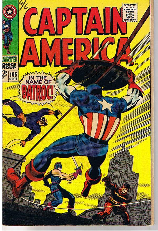 CAPTAIN AMERICA #105, VF, Batroc, Jack Kirby, Stan Lee, 1968, more JK in store