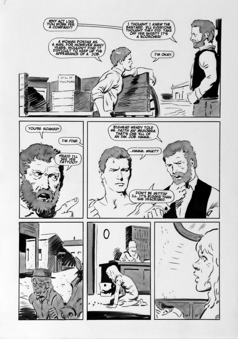 MIKE HOFFMAN original published art, BALLAD of UTOPIA #7 pg #8, 12