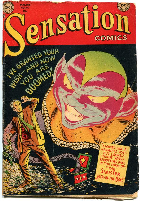 SENSATION COMICS #107, VG, Scarce, Toth, 1942, Golden Age, Pre-code Horror, HTF