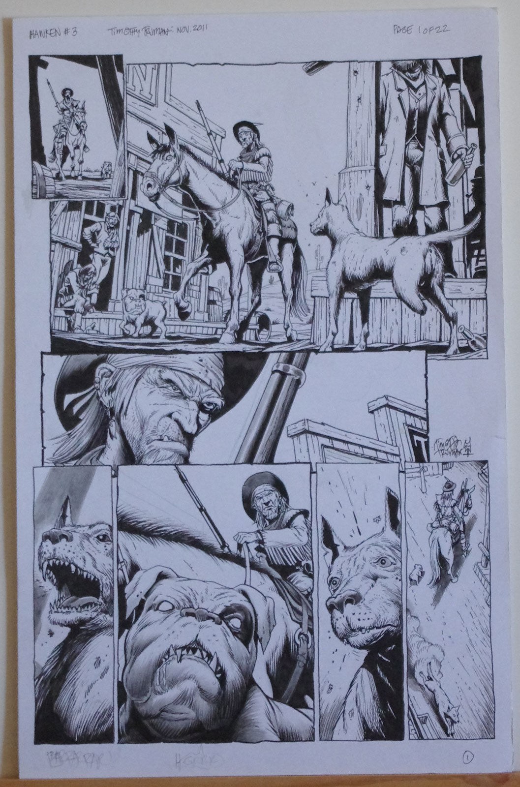 TIMOTHY TRUMAN original art, HAWKEN #3, Pg #1, 3 Legged Dog, 11