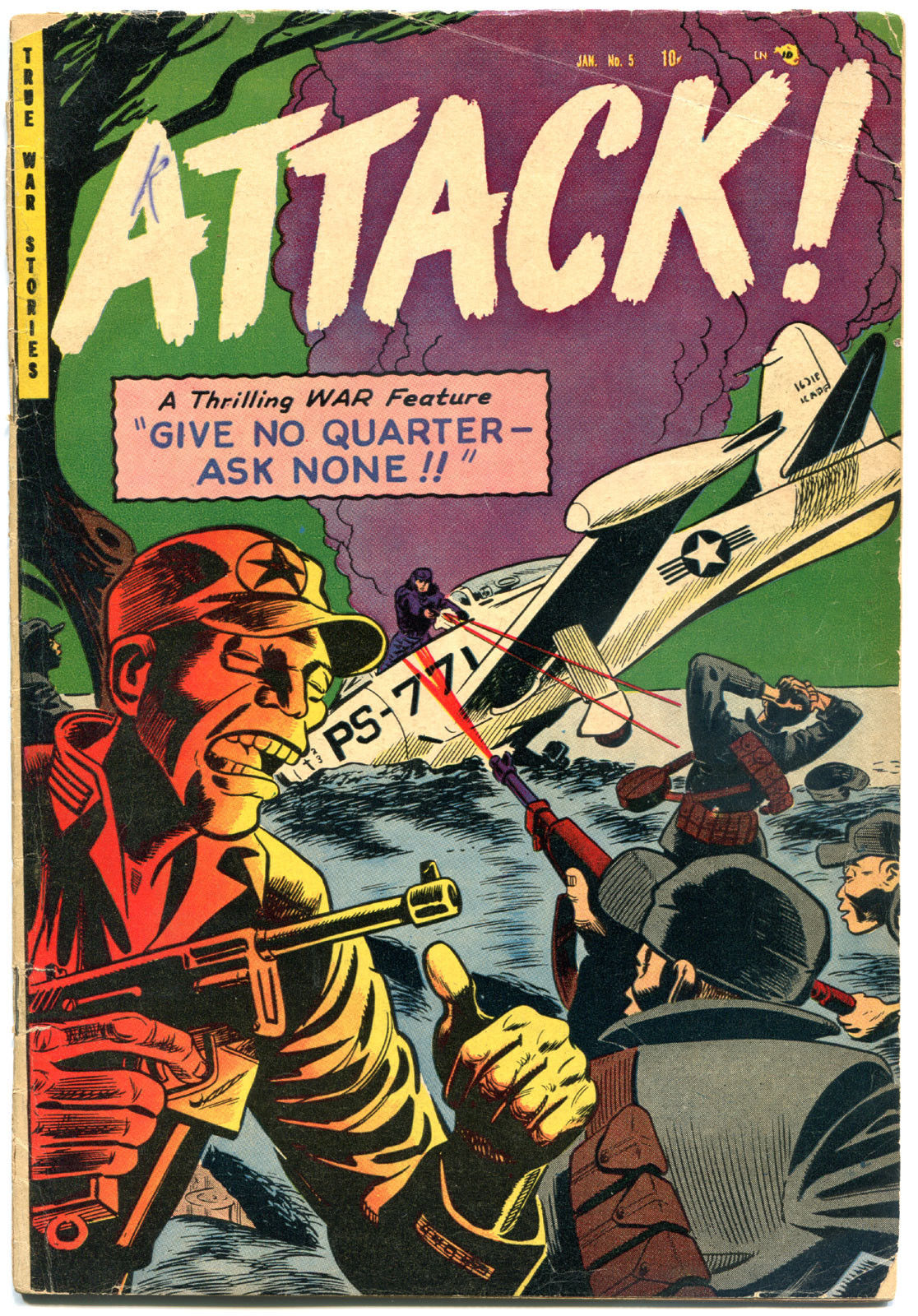 ATTACK #5, VG, 1952, Golden Age, Trojan, Give no Quarter, more in store
