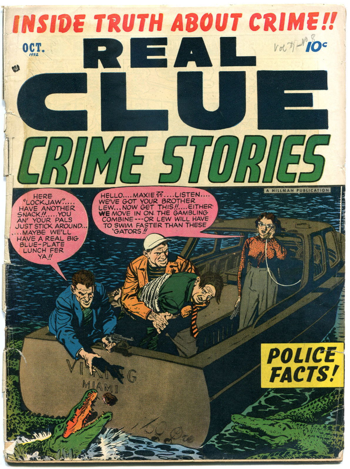 REAL CLUE CRIME STORIES V7 #8, GD+, 1952, Golden Age, Pre-code, more in store