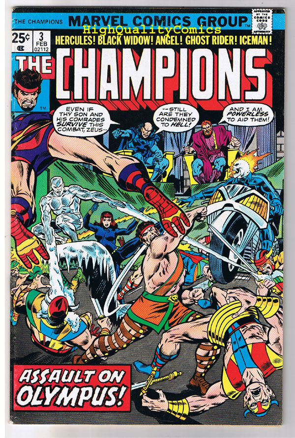 CHAMPIONS #3, FN/VF, Ghost Rider, Black Widow, Tuska, 1975, more GR in store