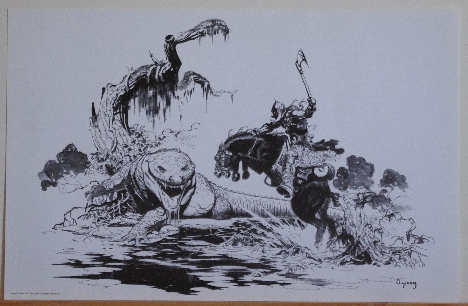 ARTHUR SUYDAM, DEATH DEALER print, VF, Axe, vs Crocodile, Horseback, 11x17, 2005