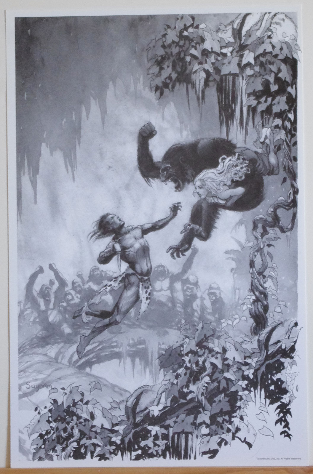 ARTHUR SUYDAM, TARZAN print, ERB, of the Apes, vs gorilla, Woman, 11