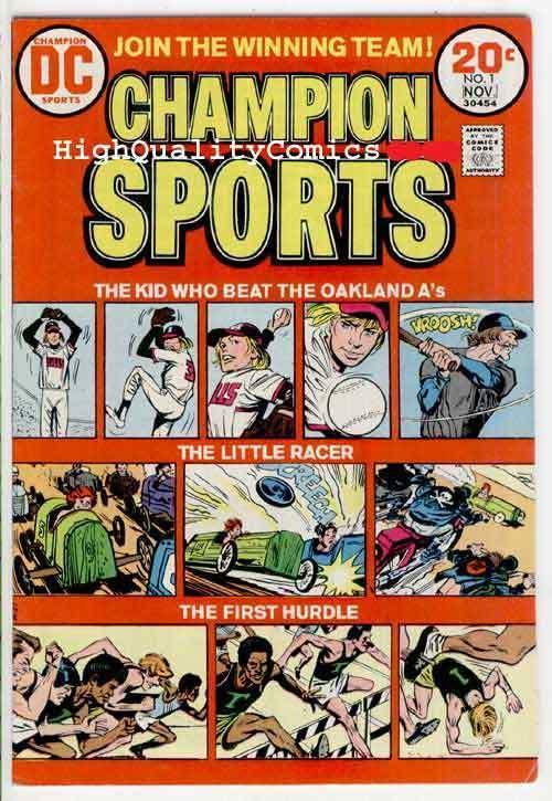 CHAMPION SPORTS #1, VF, Oakland A's, Racing,Hurdles, 1973, Bronze age