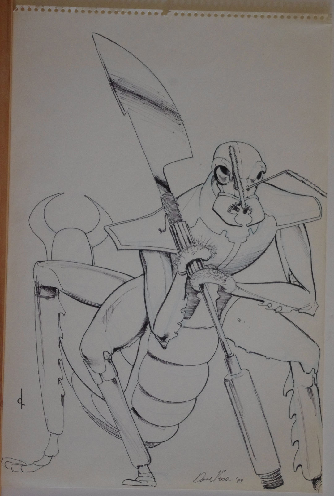 DAVID ROSS original art, Signed, INSECT WARRIOR,12x18, Sketch, more art in store