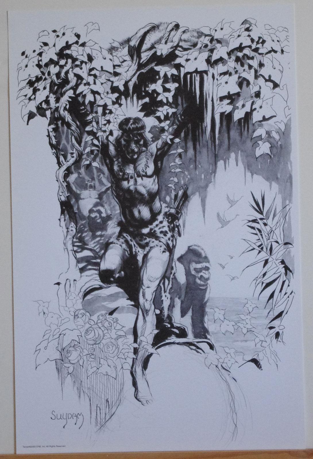 ARTHUR SUYDAM, TARZAN print, ERB, of the Apes, in tree w gorillas, 11