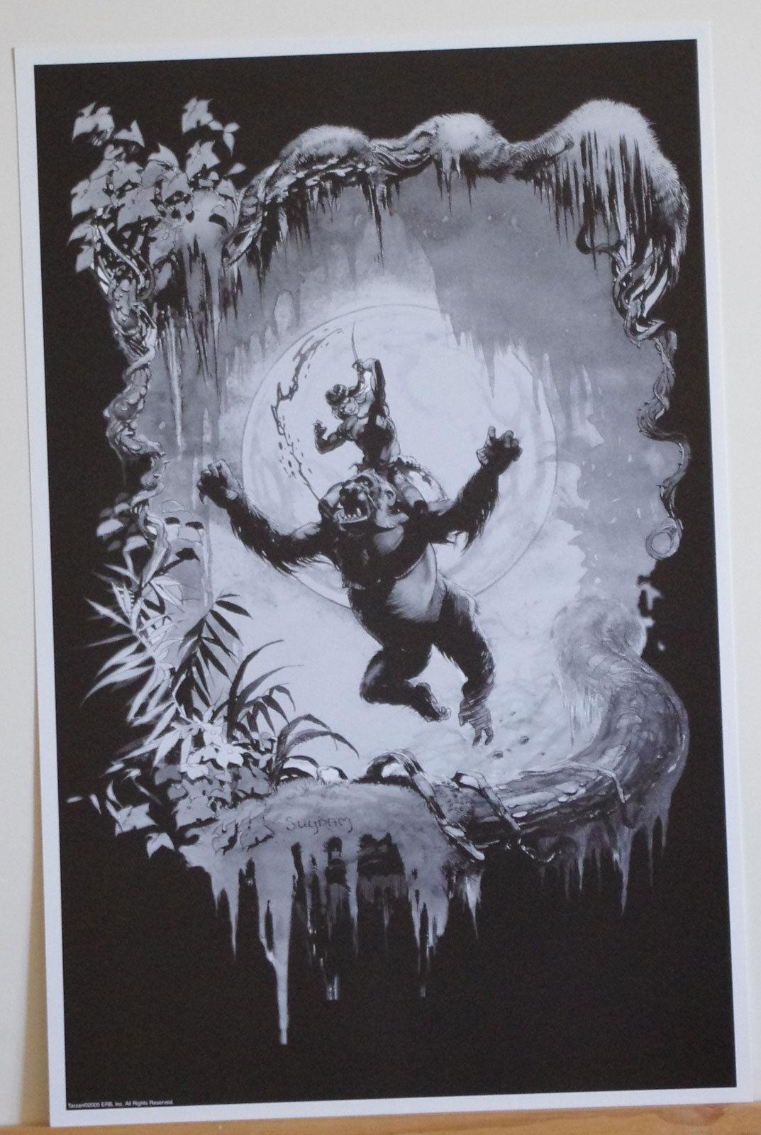 ARTHUR SUYDAM, TARZAN print, ERB, of the Apes, fighting gorilla, 11