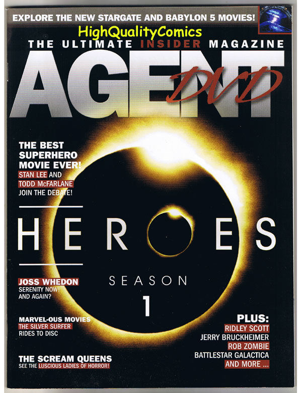 AGENT DVD MAGAZINE, NM, Serenity, Josh Whedon, Heroes, Scream Queens, Rob Zombie