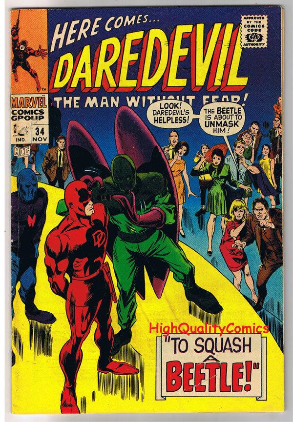 DAREDEVIL #34, VG+, Gene Colan, Beetle, Stan Lee, 1964, more DD in store