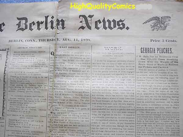 BERLIN NEWS, vintage newspaper, CT, August 11th,1898, 3 cts