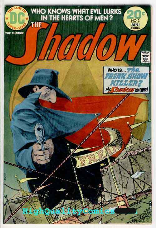 SHADOW #2, VF+ to NM, Kaluta, Freak Show Killer, Guns, Evil, 1973