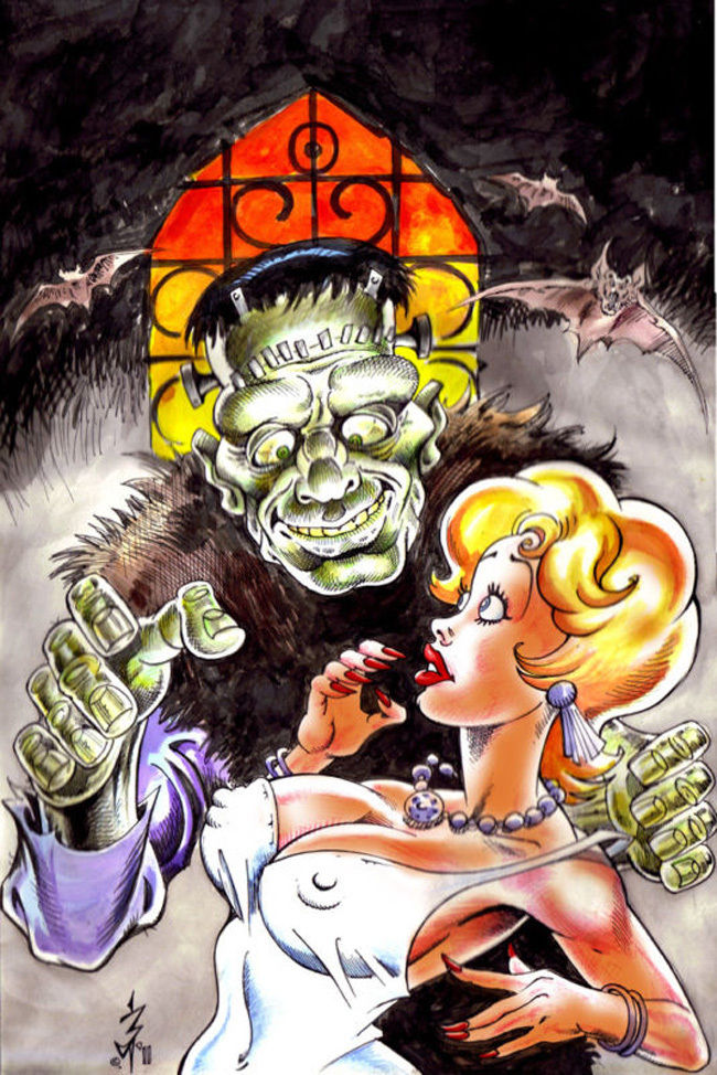 NEWTON BURCHAM original art, WHACKY MONSTERS cover, Frankenstein, 12
