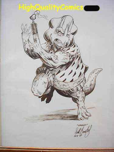DINOSAURS FOR HIRE LORENZO Original art by Scott Benefiel, 1988