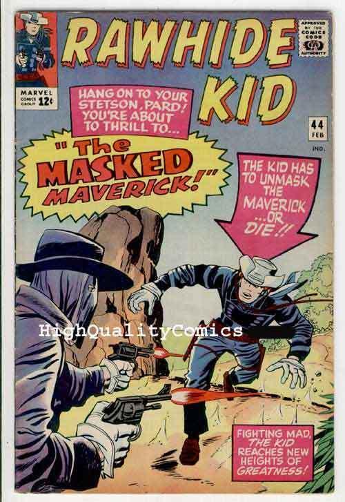 RAWHIDE KID #44, VG+, Masked Maverick, Larry Lieber, Western, 1965