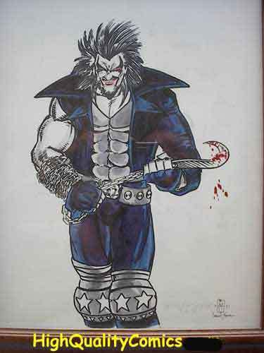 LOBO Original art by Greg Espinoza, Bloody Hook & chain, Maim