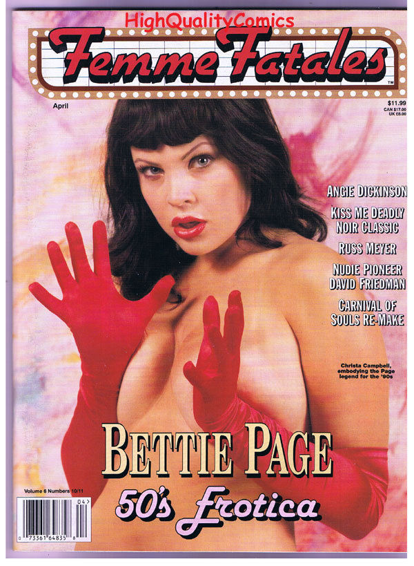 FEMME FATALES, VF+, April 1998, Bettie Page, Charlize Theron, more in store
