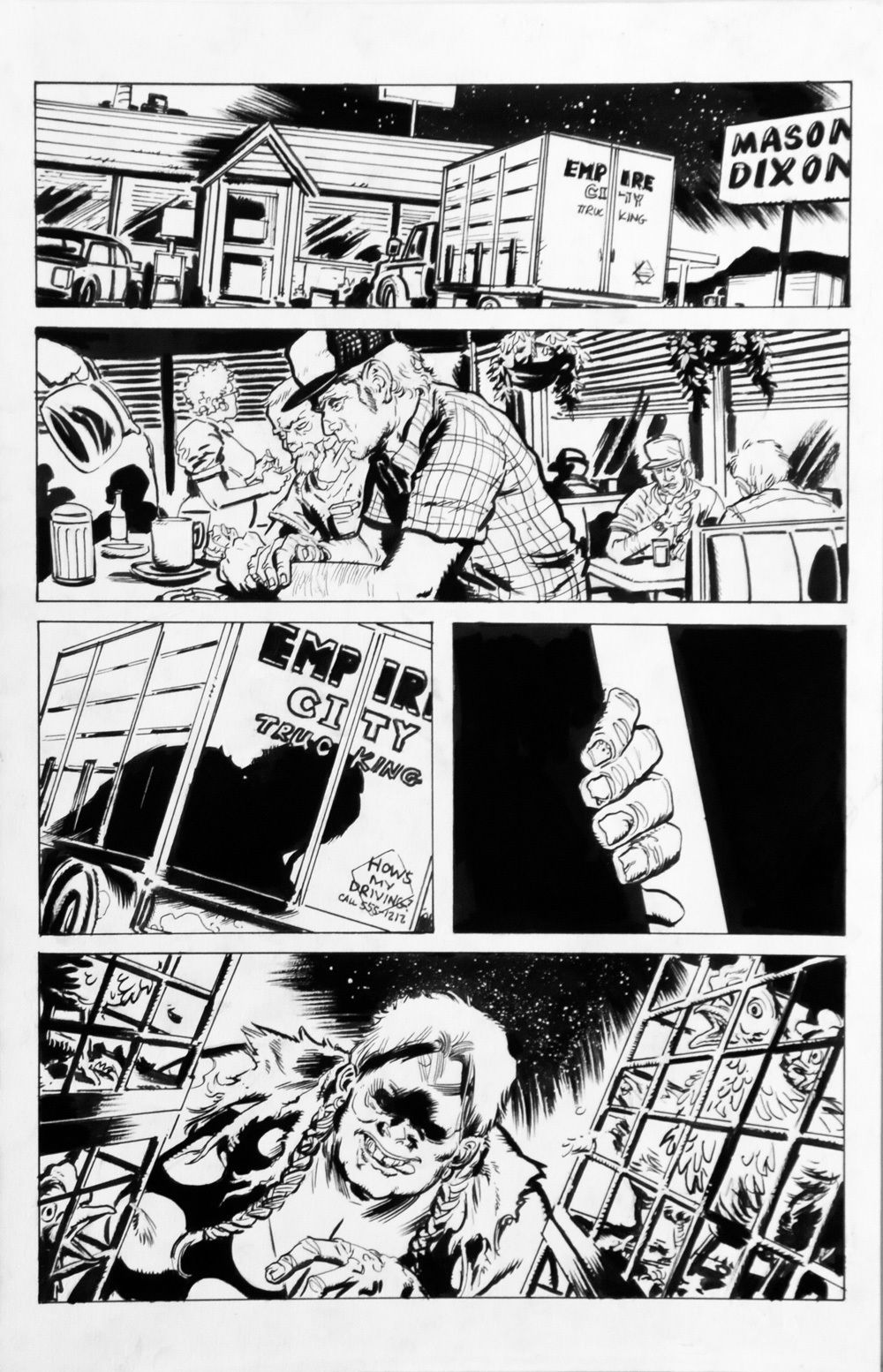 DEAN KOTZ Original Published Art, TRAILER PARK of TERROR #9 page 31, Zombies