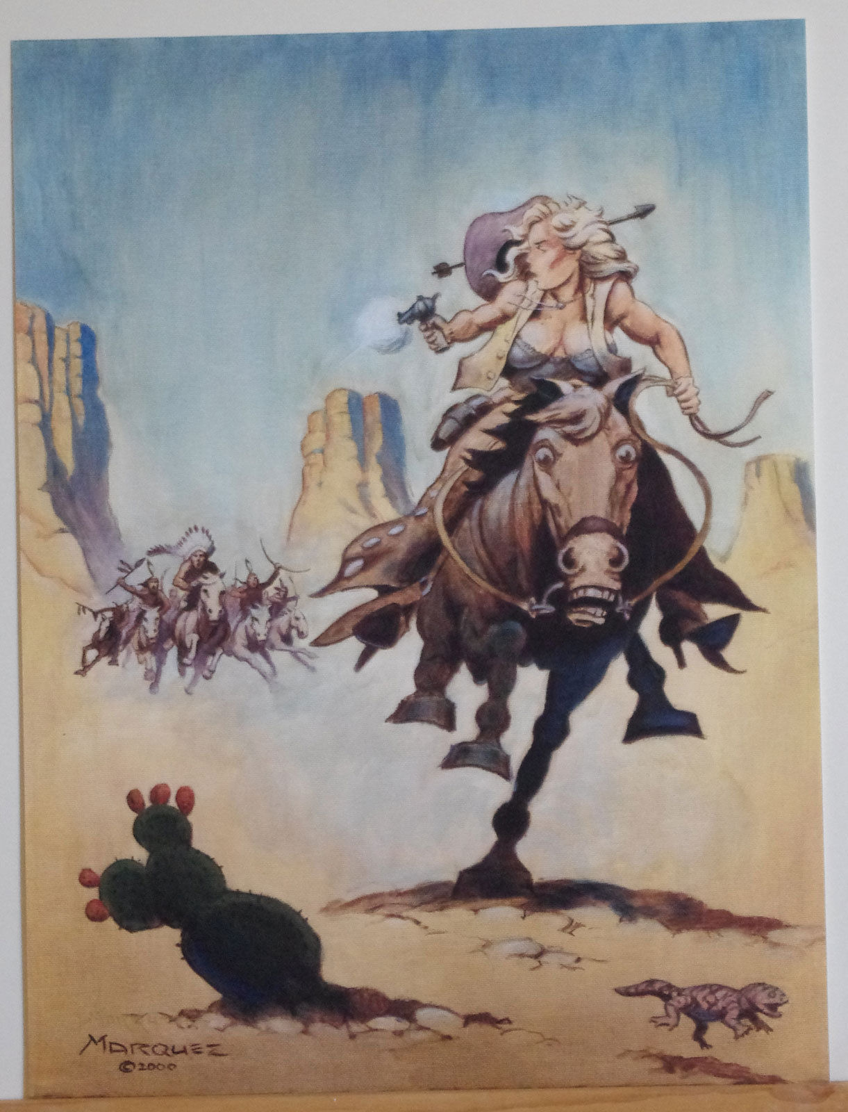 DON MARQUEZ signed Print, NM, CowGirl fleeing Indians, 2000, Horse,more in store