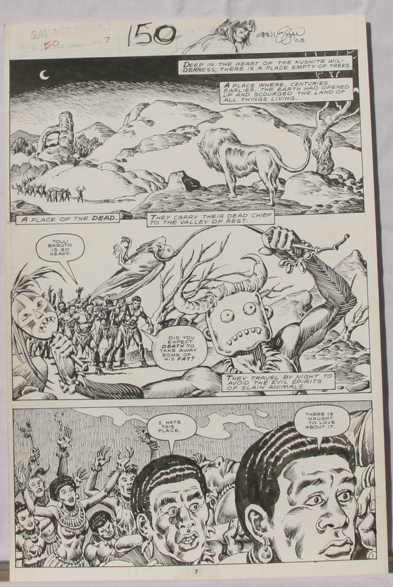 ERNIE CHAN Published Original Art SAVAGE SWORD of CONAN #150,pg 7, Signed w/art