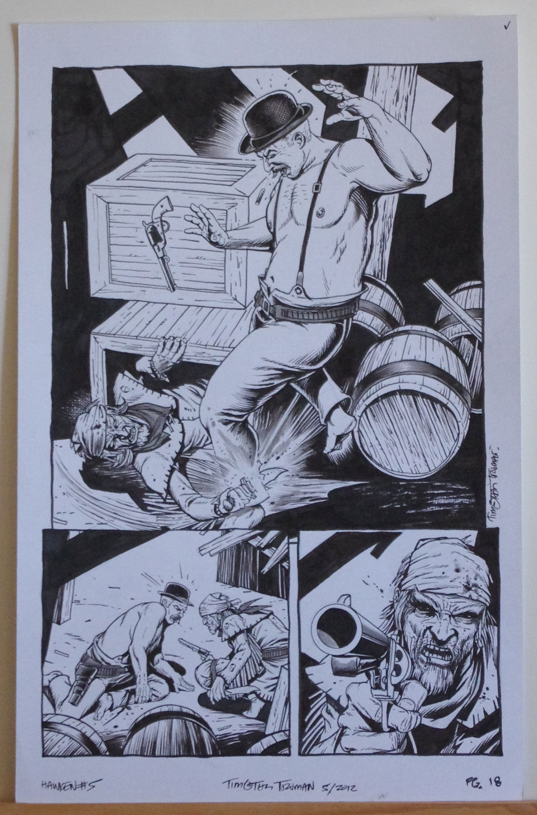 TIMOTHY TRUMAN original art, HAWKEN #5, Pg #18, Knife Fight,Guns, 11